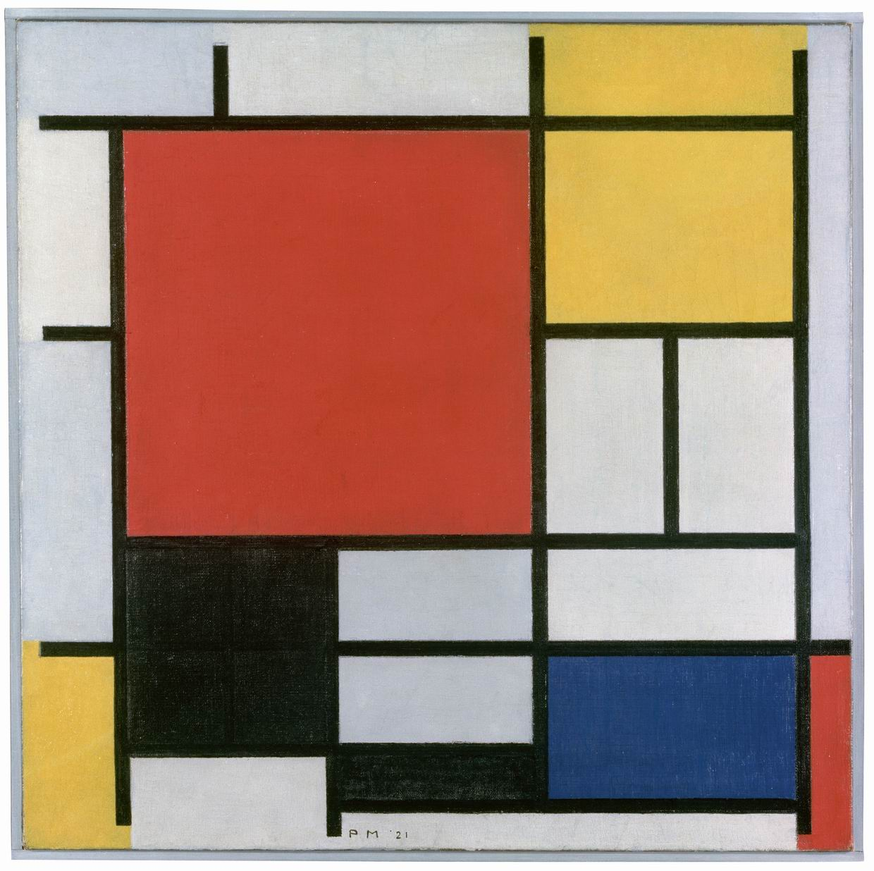 Catalogue no. SCH-1957-00710333329    Piet Mondriaan    Title: Composition with Large Red Plane, Yellow, Black, Gray and Blue Paintingscan van neg juni2006