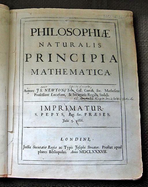 Principia první vydání 1687 autorova kopie s poznámkami pro druhé vydání Wren Library Cambridge